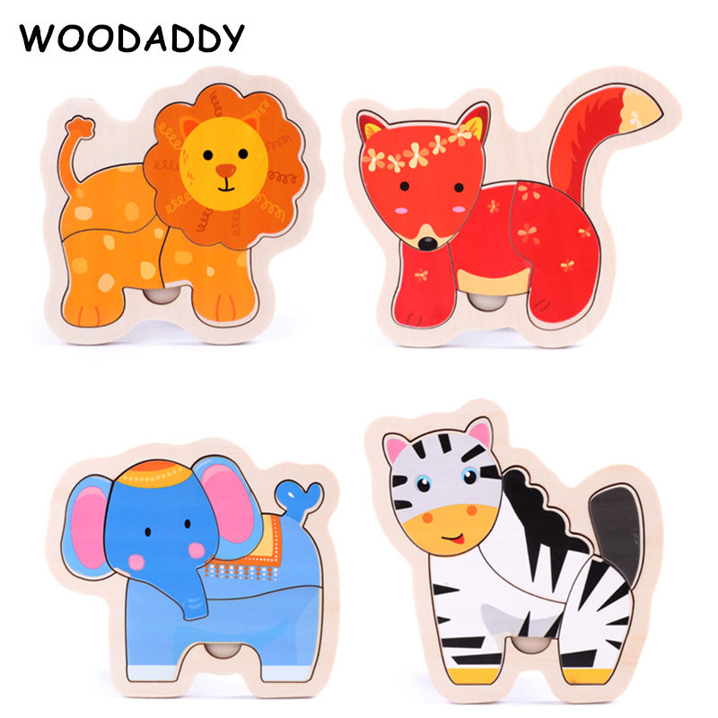 WOODADDY New 40 Kinds For Choose Baby 3D Puzzles Wooden Toys For Kids Large Size Puzzle Kindergarten Montessori Educational Gift