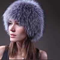 100% לבן אמיתי צבע כסף נשים פרוות שועל סרוג כובע חזית חם כובע הפרווה הטבעית שועל אמיתי נשי סין קמעונאות סיטונאי
