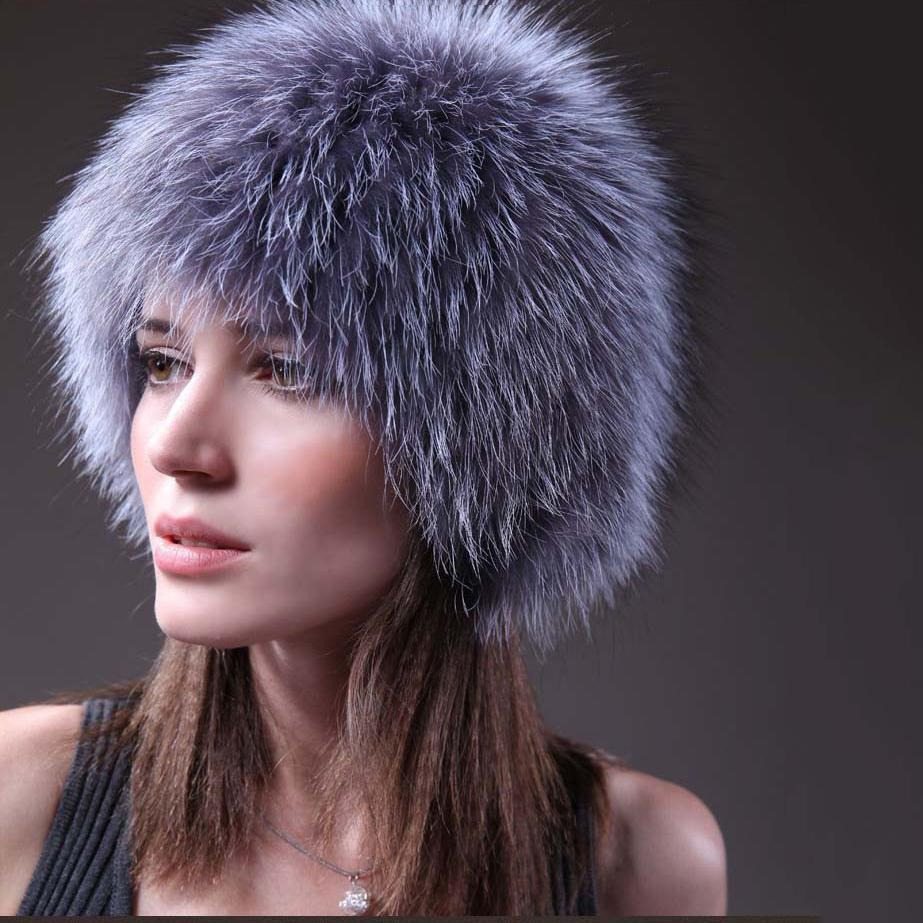 100% Real White Silver Color Women Knitted Fox Fur Cap Female Genuine Fox Hat Natural Fur Head Warmer China Retail Wholesale