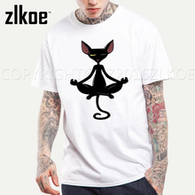 Funny Black Cat In Meditation T Shirt Geek Life T-shirt Style Cool Men Top Tee hipster anime cosplay mens t shirts fashion 2016