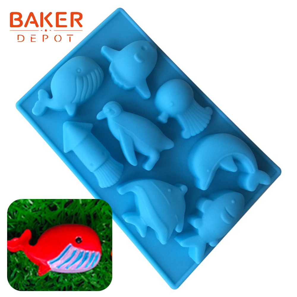 Fish shape silicone soap mold Sea World silicone chocolate mold ice candy gummy mould soap jello cake decorations bakeware tools image