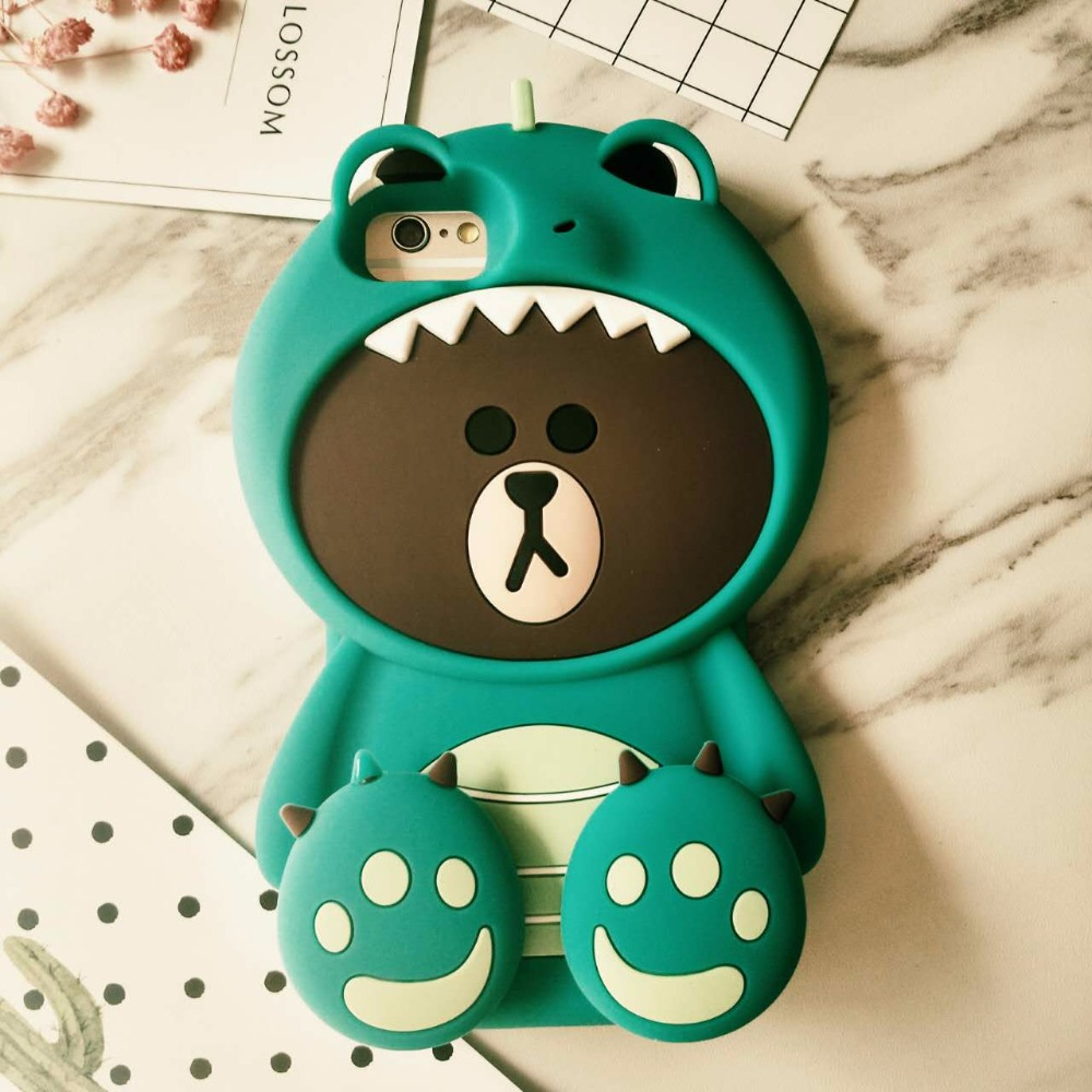 save off 05c5f 04d79 US $4.85 |2017 New Korean 3D Dinosaur Bear Case for iPhone 8 7 7plus 6 6s  plus Bear in Tiger Costumes Back Case Funda Cover-in Fitted Cases from ...