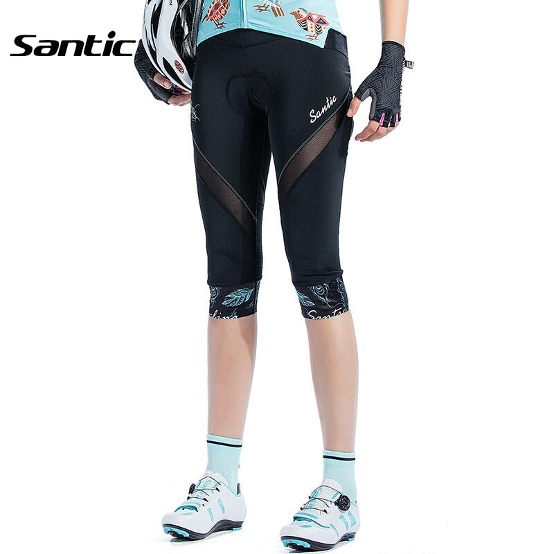 Santic Women Cycling Shorts 3/4 Anti-pilling Quick Dry Bicycle Shorts 4D Sponge Padded Comfortable Mountain Road Bike Shorts santic bike shorts women downhill shorts with italy sponge pad breathable cycling shorts for mountain bike bicycle cycle