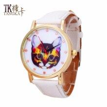 2016 new cute cat girl figure digital display clock casual fashion style lady quartz watch Simulated leather strap women watch