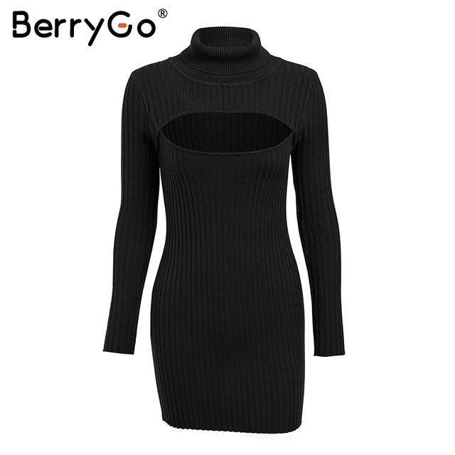 BerryGo Sexy keyhole black winter knitted dress 2018 Turtleneck long sleeve sweater dress female Slim bodycon short dress autumn