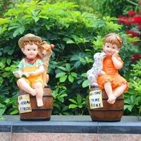 Rustic artificial Children sculpture resin kids craft outdoor decoration 2pcs/lot garden decor home Ornaments