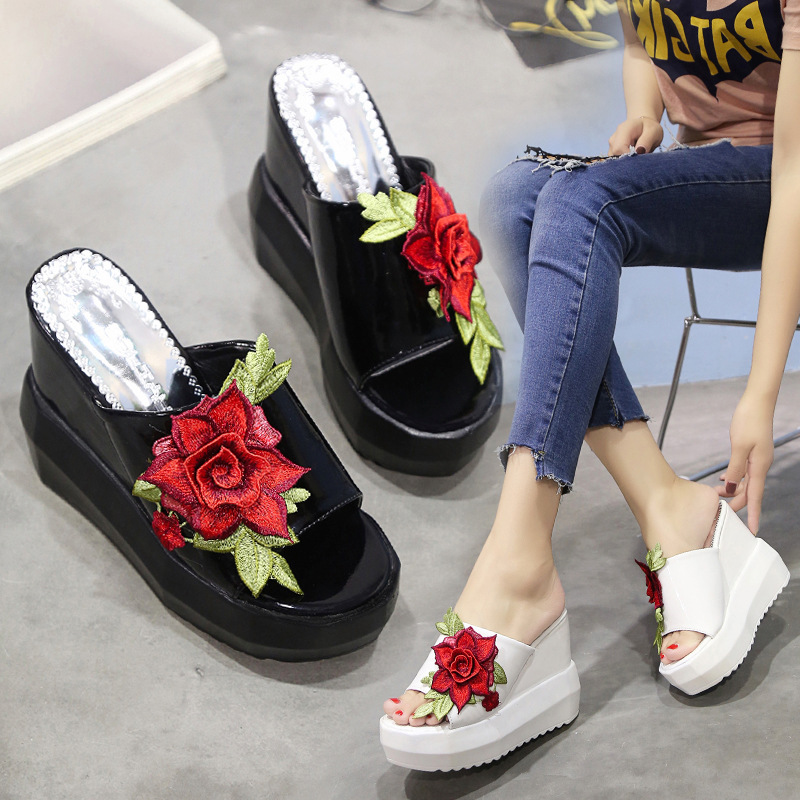 Thick Bottom Slope with Cool Slippers Summer New Waterproof Table Muffin Embroidery One Word Slippers European Womens ShoesThick Bottom Slope with Cool Slippers Summer New Waterproof Table Muffin Embroidery One Word Slippers European Womens Shoes