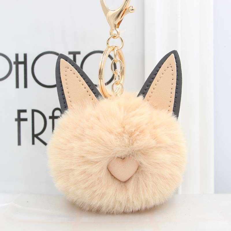 Re bonito gato coração chaveiro pompom pele de coelho bola chaveiro pompom pompom chaveiro feminino chaveiro saco de carro encantos chaveiro a0730