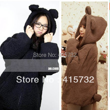 Free Shipping 2019 New Faux Fur Coat Rabbit Outerwear With Bear Ears Cute Plus Size Loose Winter Sweatshirt Hooded Brown Hoodies