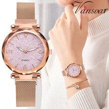 Relógio luxo pulseira magnética rose gold brilho, relógio de pulso feminino pulseira malha com fecho de ímã feminino