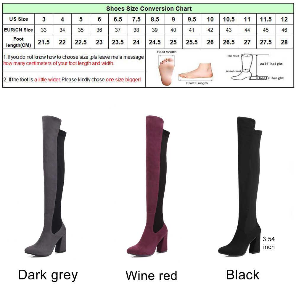 Meotina เข่ารองเท้า Women หนังต้นขาสูงรองเท้า Chunky ยาวส้นสูงรองเท้าซิปรองเท้าสีเทาสีดำขนาด 9 10