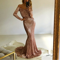2018 Sexy Slash Neck Sequin Dresses Champagne Gold Navy Blue Sequined Maxi Dress Floor Length Evening Party Dress Gown