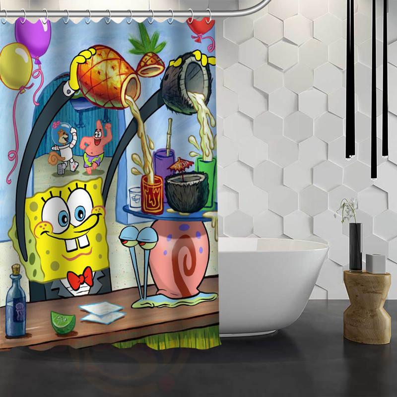 New Spongebob Custom Shower Curtain Waterproof Fabric Bath Curtain ...