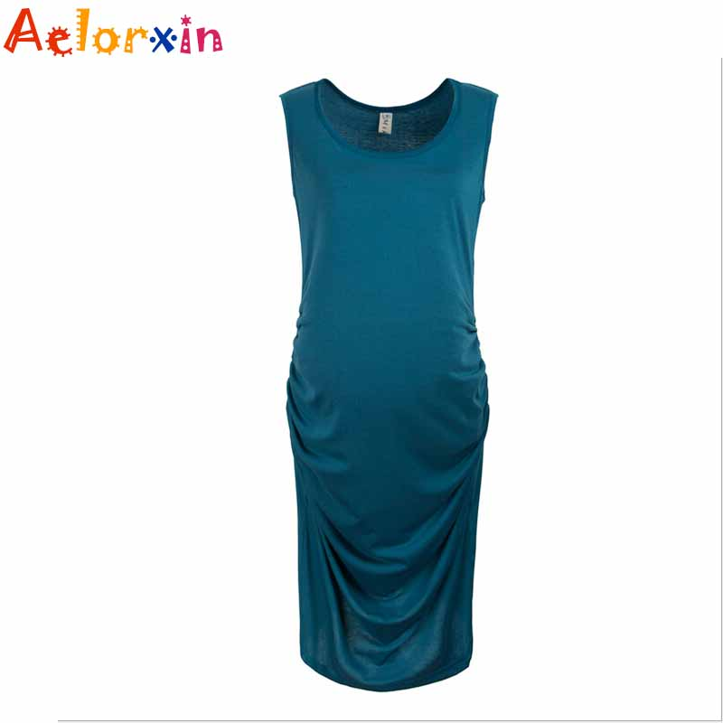 Maternity Dresses Sexy Temperament Round Neck Sleeveless Maternity Dresses Pregnancy Clothes maternity Clothes 2016 new Arrival