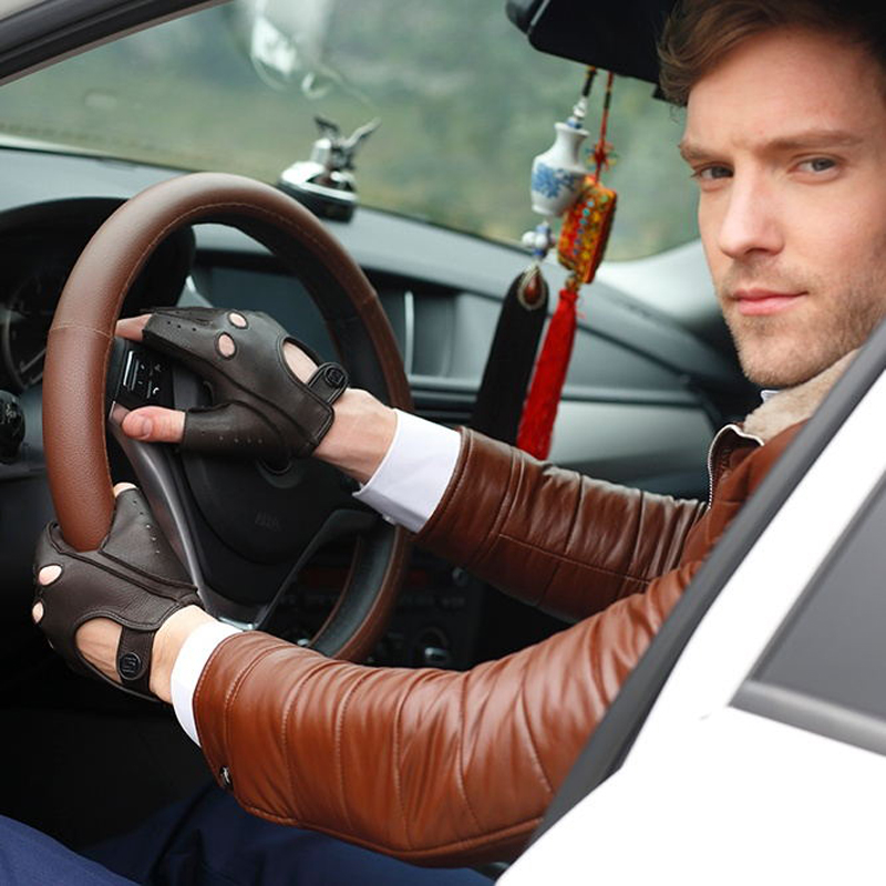 Men Deerskin Gloves Wrist Half Finger Driving Glove Solid Adult Fingerless Mittens Real Genuine Leather Mittens  AM014