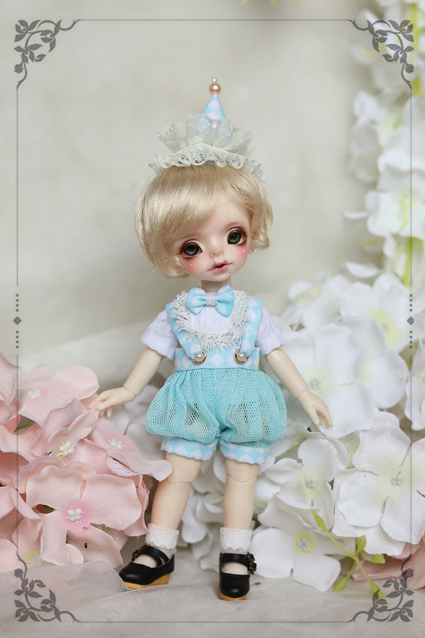 BJD doll clothes Mint blue overalls suit top overalls ice-cream cone headdress socks for 1/8 BJD SD doll clothes accessories