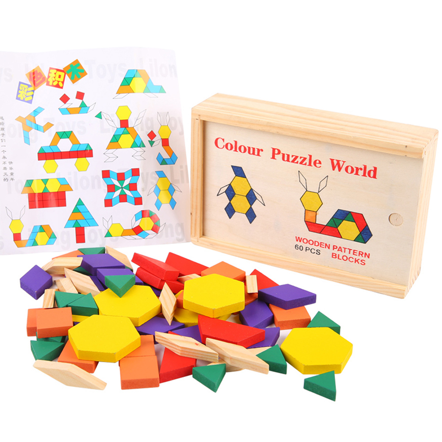 Kids Tangram Wooden Jigsaw Puzzle Games Play Adult Iq Wood Puzzle Box Toys Game Brinquedo Educativo Puzzles For Children 60P0008