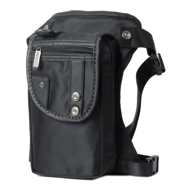 Men Nylon/Canvas Leg Bags Waist Fanny Pack Rivets Drop Belt Hip Messenger Shoulder Travel Motorcycle Multipurpose Assault Bag