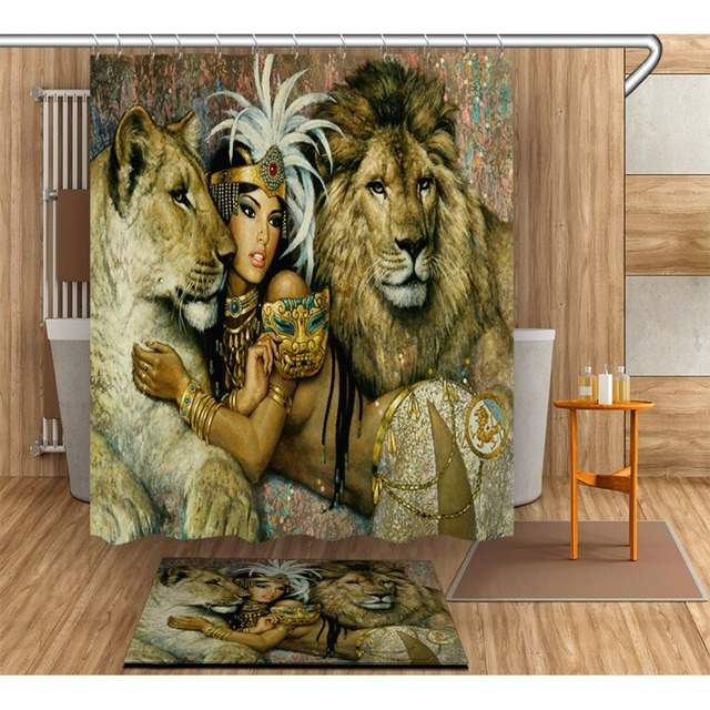 Vintage African Sexy Woman Beast Lion Shower Curtain With Rug Set Bathroom Waterproof Polyester Fabric For Art Bathtub Decor