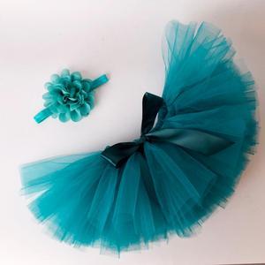 Однотонная пушистая юбка-пачка и повязка на голову для маленьких девочек, комплект для новорожденных, костюм для фотосессии, фатиновые пачк...