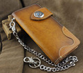 Handmade Genuine Leather Biker Hip Hop Men's Long Wallet w/ Met Key Chain VF3