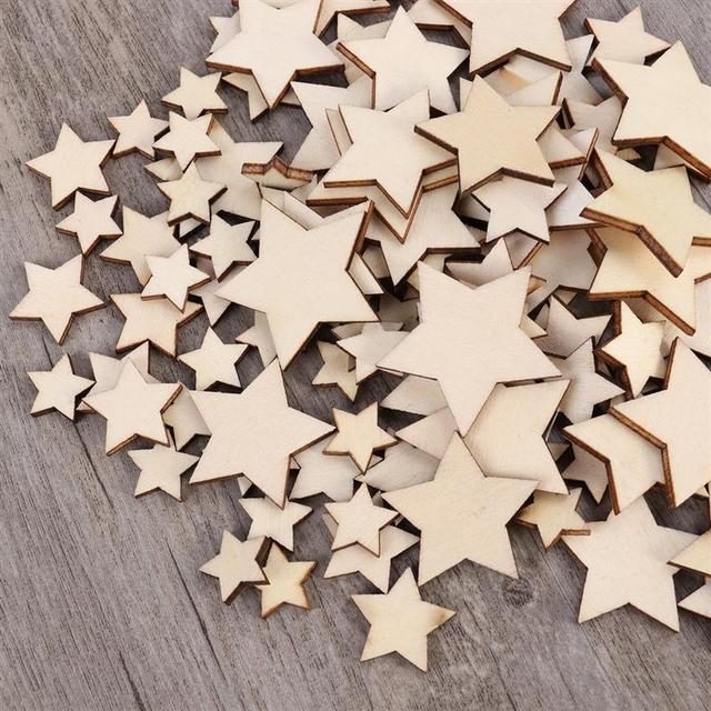 100PCS Stars Shape Wooden Cutout Discs Assortment Arts Crafts DIY Decoration For Birthday Wedding Display Decor