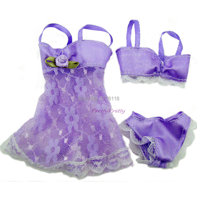 6 Sets Colorful Sexy Pajamas Lingerie Nightwear Lace Night Dress + Bra + Underwear Clothes For Barbie DollSkirt Clothes