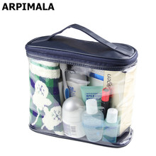 Transparent Cosmetic Bags High Quality PVC Toiletry Bags Travel Organizer Blue Necessary Beauty Case Makeup Bag Make up Box