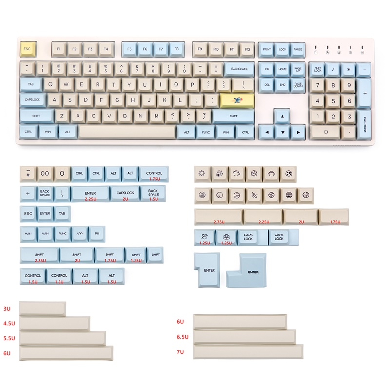 xda profile 165keys pbt material dye subbed keycap for mx switch mechanical keyboard-in Keyboards from Computer & Office    1