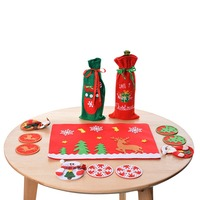 New 9/11PCs Christmas Tablecloth Chair Wine Bottle Cover Sets Christmas Decorations For Home New Year DIY Party Supplies