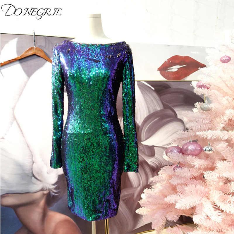 Green Sequin Dress Women Sexy Club Dresses 2018 Slim Fit Backless Bodycon Party  Nightclub Mini Vintage 60d567562f4c