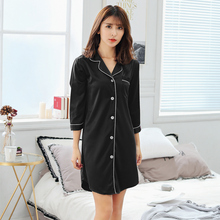 Women Nightgowns Fashion Satin Sleepwear Nightshirts Silk Casual Night Dress Summer Autumn Shirts Sleepshirts
