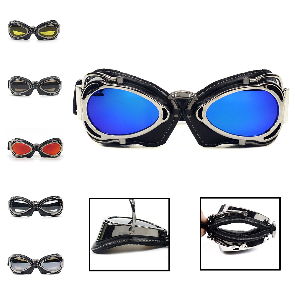 2019 latest Vintage Motorcycle font b Helmet b font Goggles Scooter Glasses Smoke Aviator Pilot Cruiser