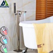 Nickel gebürstet Platz Stand Badewanne Wasserhahn LED Farbwechsel Ein Griff Handbrause Tub Mixer Klaue Fuß