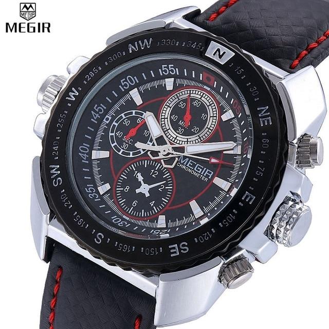 54821fbebb Megir relógio de quartzo-relógio dos homens pulseira de couro preto homens  moda mens assistir