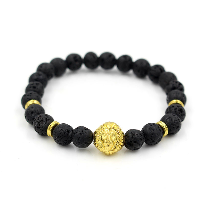 Whole Gold Color Leo Lion Head Charm Elastic Bead Bracelet Black Rock Lava Stone Beaded