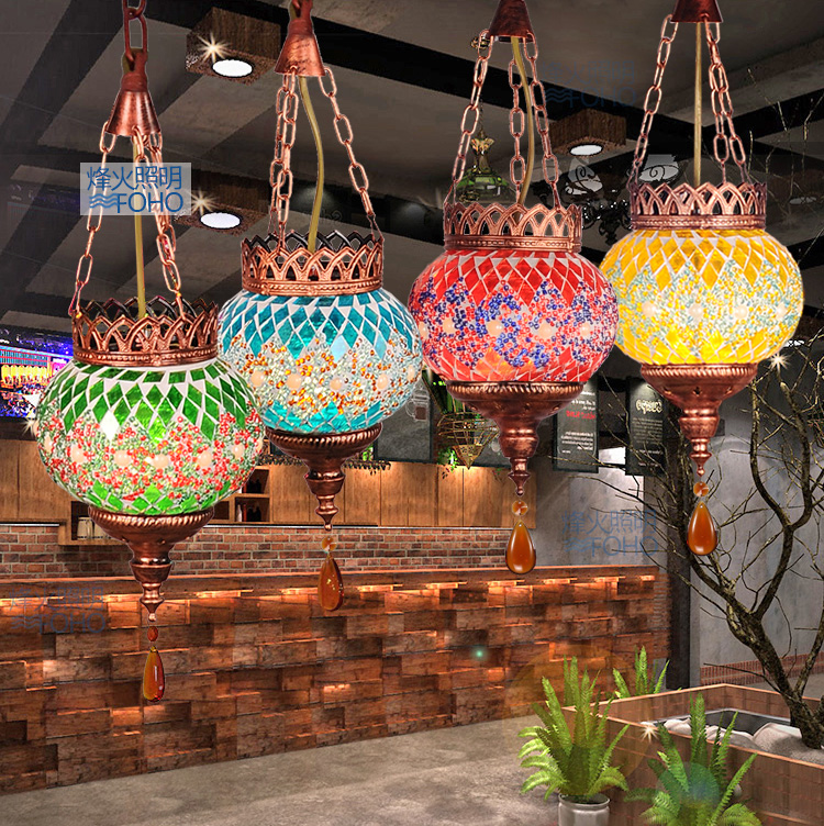 Mancoffee Retro Ceiling Lamp Southeast Asia Bohemia Colorful Glass Turkey Vintage Droplight Cafe Bar Restaurant Hanging Lamp