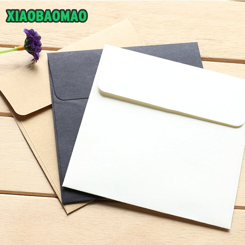 Kraft Paper White Black Color Paper Envelope 10x10 Cm Square Envelope Customization Color Envelope 50pcs / Lot