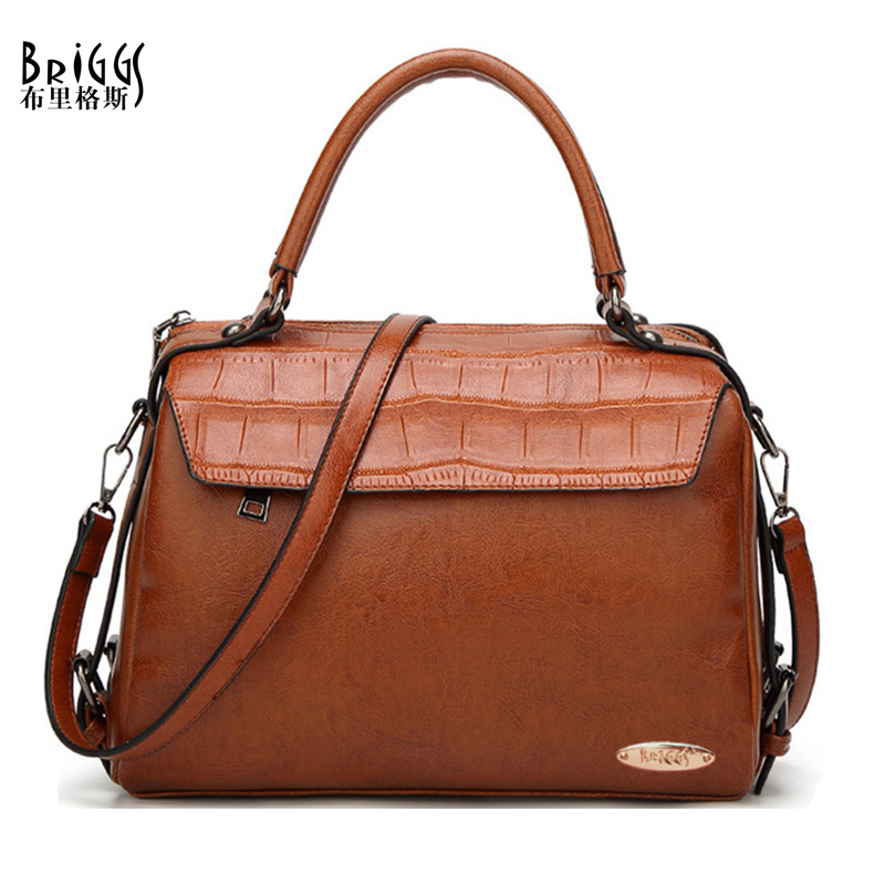 где купить BRIGGS Brand High Quality Designer Women Boston Handbags PU Leather Bag Women Crossbody Bag Brown Ladies Shoulder Bags Tote дешево