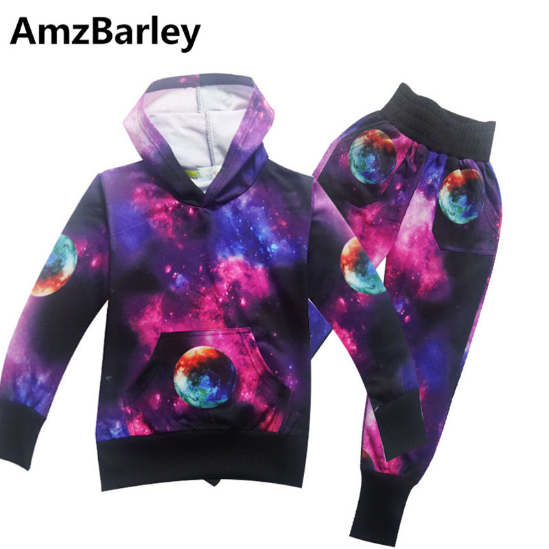 AmzBarley 2Pcs Boys Children Clothing Sets Pullover Hoodies Pants Earth Galaxy Print Kids Clothes Toddler Sleepwear Pajamas Baby