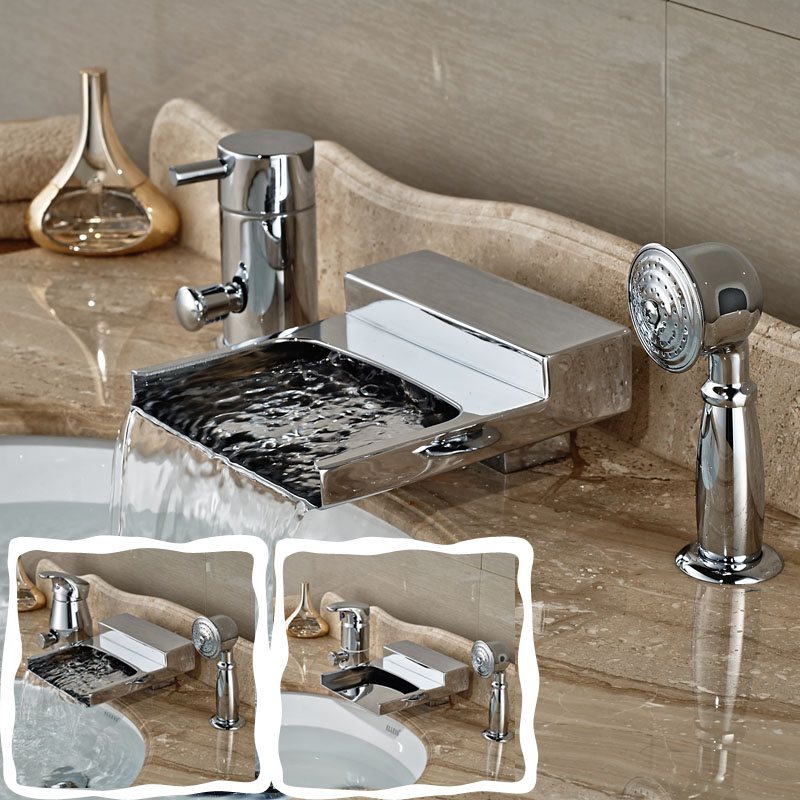цена на Brass Chrome Bath Shower Mixer Deck Mount Waterfall Spout Tub Filler Single Handle Bathtub Faucet