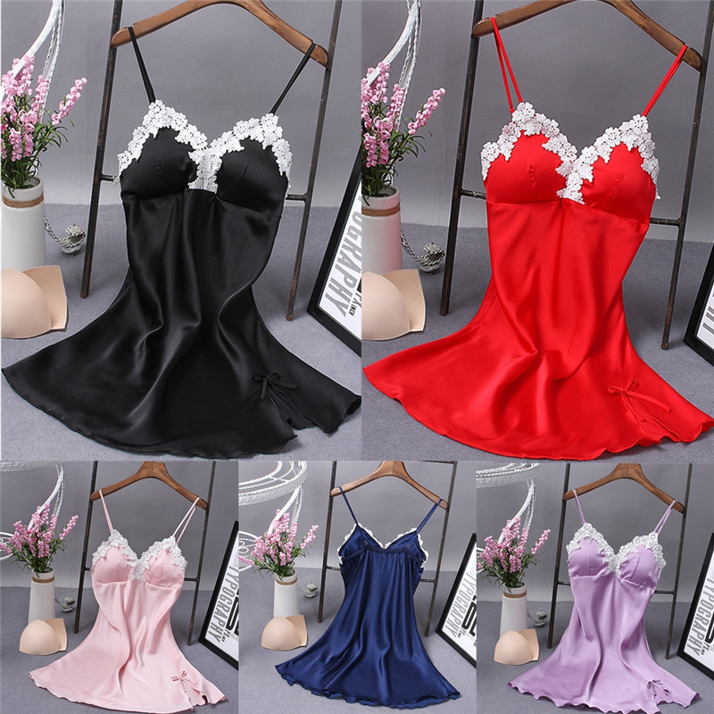 2018 Sumeer New Style Fashion Sexy Solid Sleeveless Solid Women Satin Silk Lace Robe Dress Babydoll