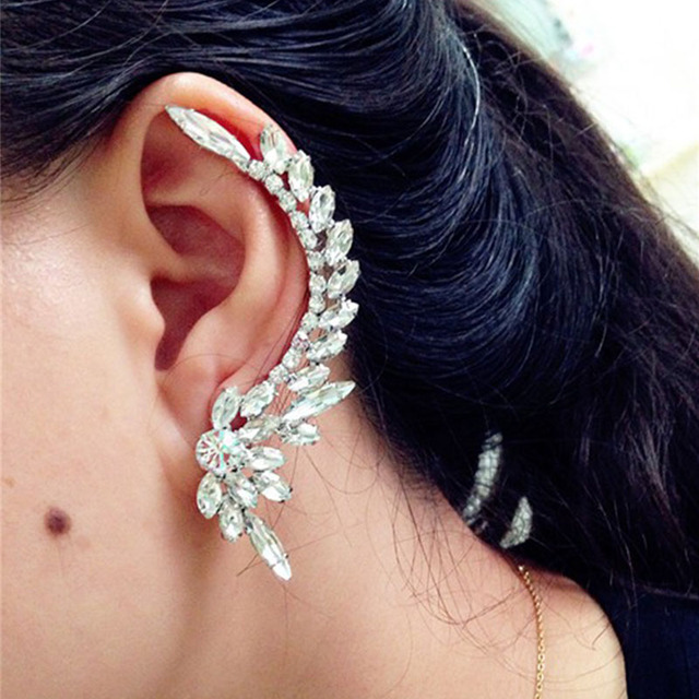 Stud Earrings Sliver/Black Color Punk Stud Earring Crystal Piercing Ear Fashion Jewelry Accessories Women Earring Rhinestones