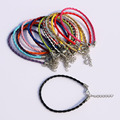 100pcs Charm Man-Made Mix Color Wrap Leather Braided Rope Bracelet With Clasp Fit Fashion Jewelry Bracelet