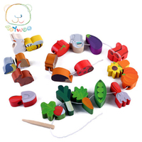 Toy Woo Wooden 100 Children Colorful Cartoon Animal And Fruit Early Education Bead For 1 3