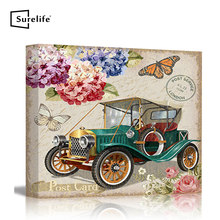 Vintage Postcard With Retro Car and Flowers Stretched Canvas Prints Wall Art Pictures With DIY Solid Pine Wood Bars Home Decor(China)
