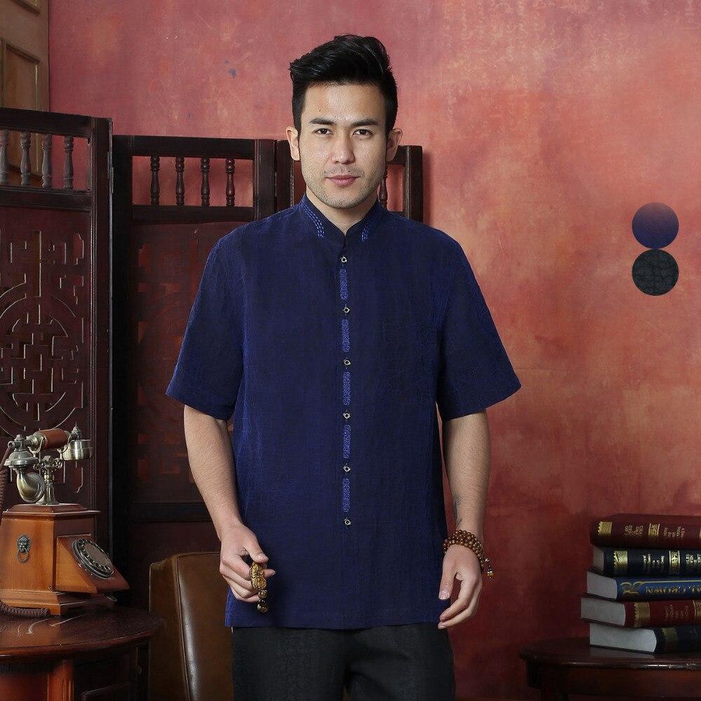 100% soie marque nouveauté chinois traditionnel hommes Kung Fu dessus de chemise L XL XXL 3XL 4XL MS2015026