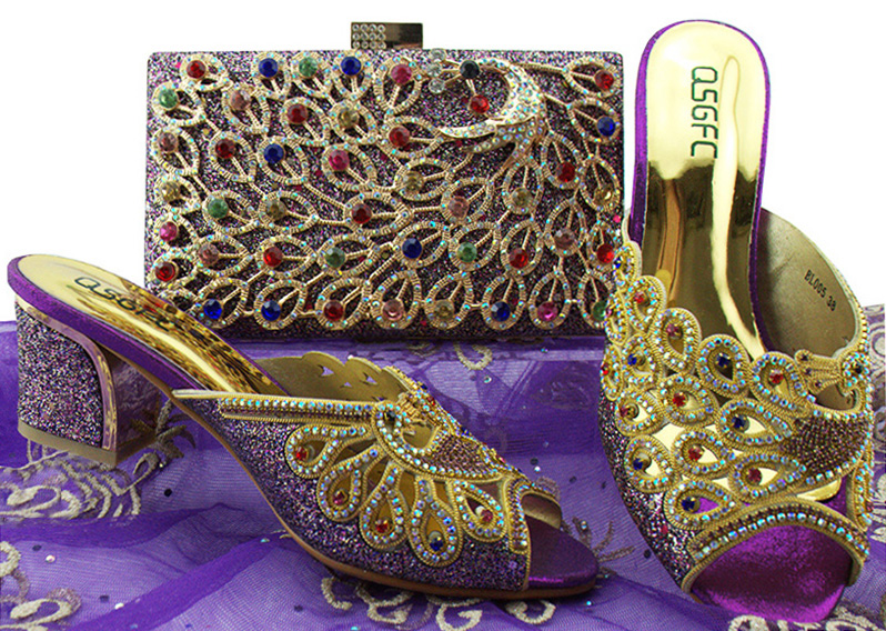 Nigeria Fashion Shoes and Bag Set New Design African Shoes and Bags For Party Italian Style Shoes with Matching Bag BL005 african fashion shoes with matching bag set for wedding party italian design nigeria women pumps shoes and bags mm1060