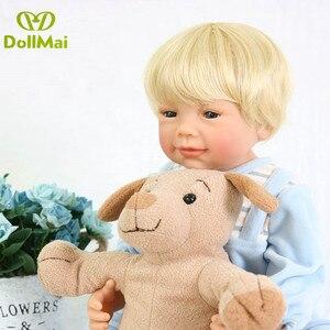 56cm 100% corpo inteiro vinil silicone reborn bebês bonecas artesanal bebe reborn cabelo loiro menino menina brinquedo de aniversário bonecas presente lol