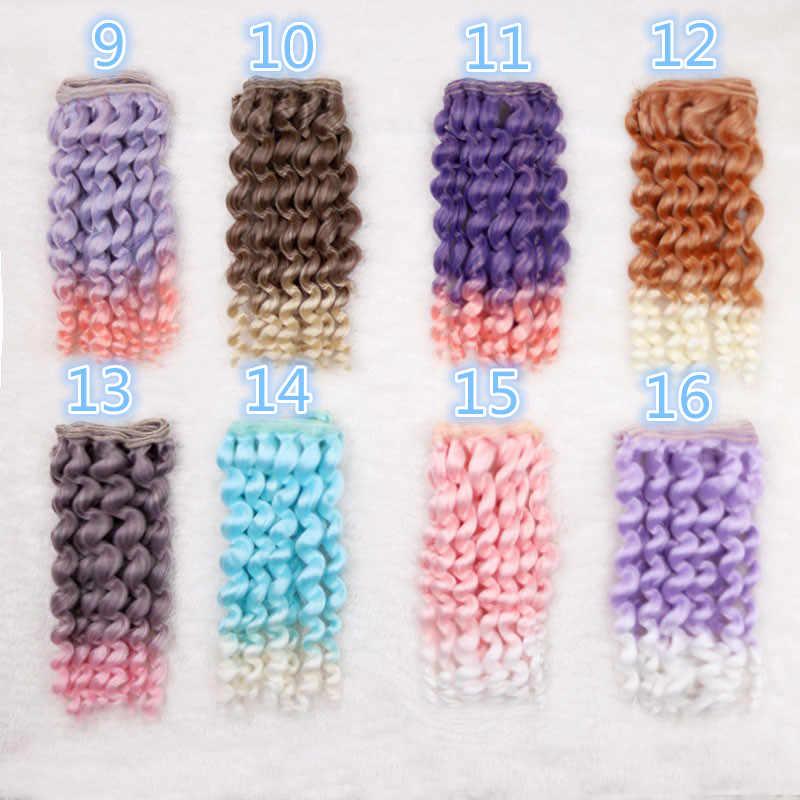 Bebek peruk 15 cm * 100 cm 1/3 1/4 1/6 BJD SD Blythe Doll Salon bebek kıvırcık dalga saç degrade renkli Fapai peruk